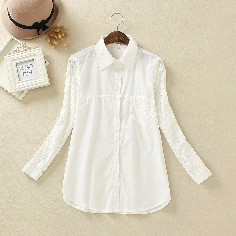 Fashion Women Elegant Embroidery Hollow out blouses ...