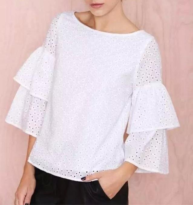 Fashion Women elegant Embroidery hollow out white blouses ...