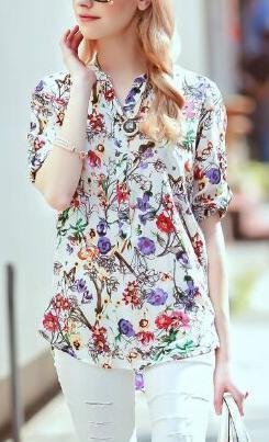 Fashion Women elegant floral print Button blouses vintage ...