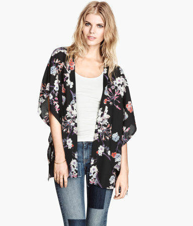 Fashion women elegant floral print Kimono outwear loose ...