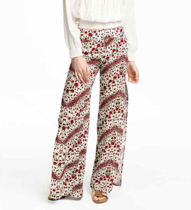 Fashion women Elegant Floral Print pants Wide Leg cozy ...