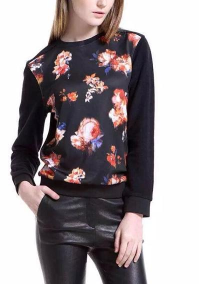 Fashion women elegant floral print sports pullover outwear ...