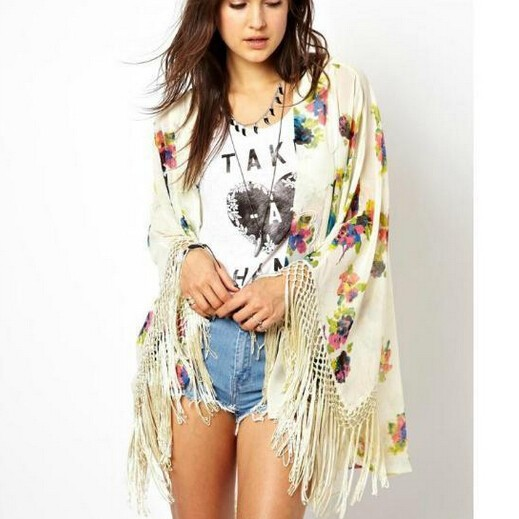 Fashion women elegant floral print tassel beige Kimono ...