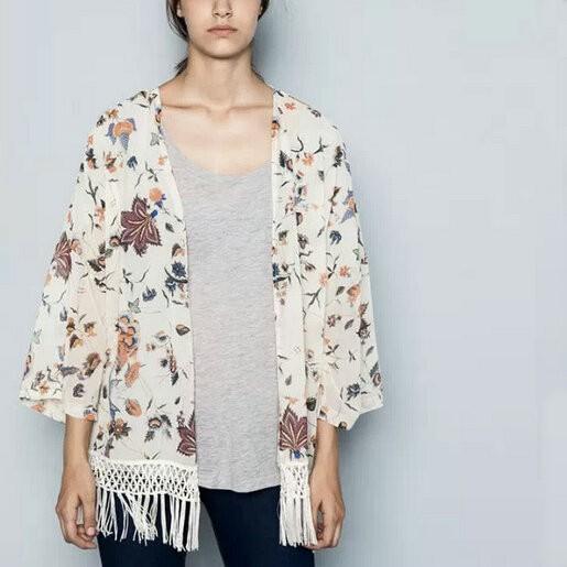 Fashion women elegant floral print tassel Kimono outwear ...