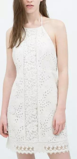 Fashion Women Elegant Hollow out Lace Backless Dress Spaghetti Strap sleeveless white casual dresses