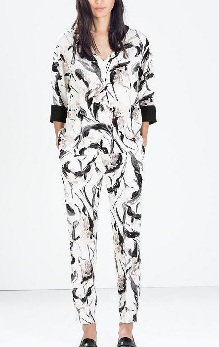 Fashion women elegant ink floral print Harem pants cozy ...