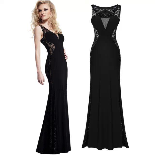 Fashion women elegant lace floral patchwork Dress Vintage ...
