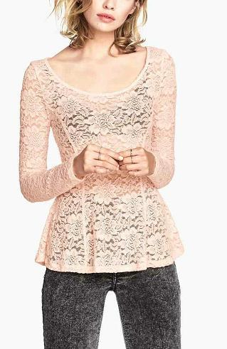 Fashion women Elegant lace Hollow out blouse shirt long ...