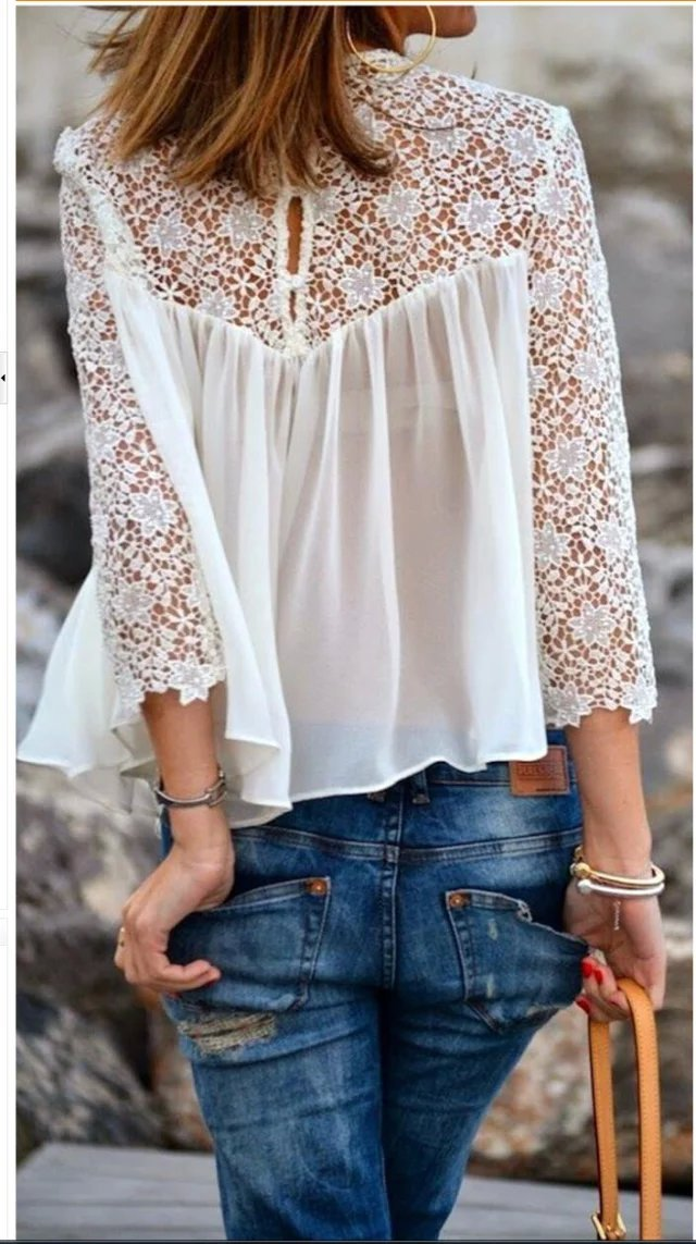 Fashion Women Elegant Lace Hollow out white Blouses ...