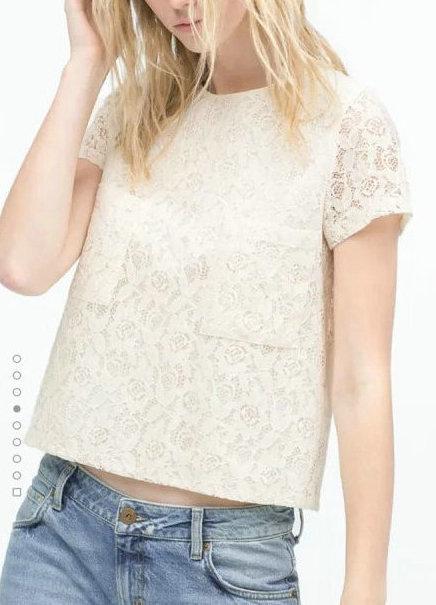 Fashion Women elegant Lace pocket blouses O neck Short ...