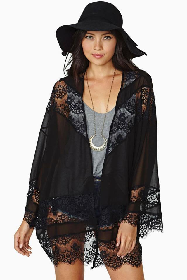 Fashion women elegant lace tassel black Kimono outwear ...