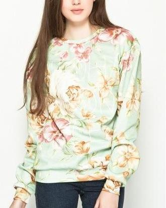 Fashion women elegant letter floral print sports pullover ...