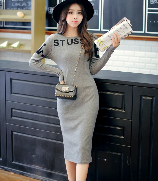 Fashion Women elegant letter print sport gray dresses ...