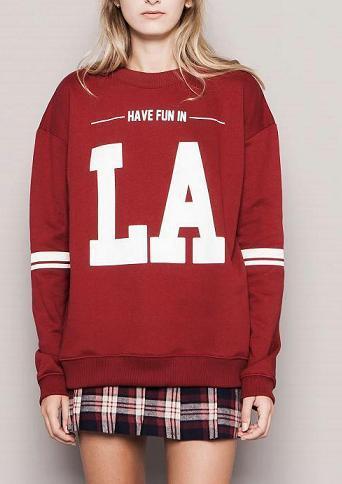Fashion women elegant letter print sports pullover outwear ...