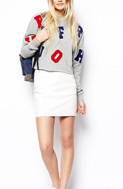 Fashion women elegant letter sports short pullover outwear ...