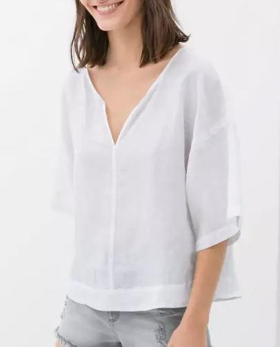 Fashion Women elegant Linen blouses vintage V neck Batwing ...