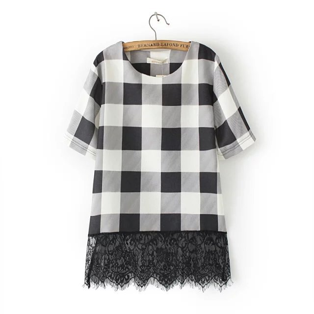 Fashion women Elegant Plaid T shirt back Lace Patchwork ...