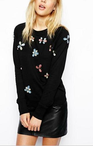 Fashion women elegant print sports pullover outwear ...