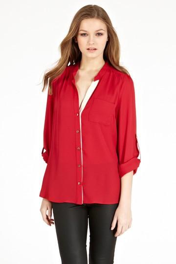 Fashion women elegant red basic blouses brief pocket ...