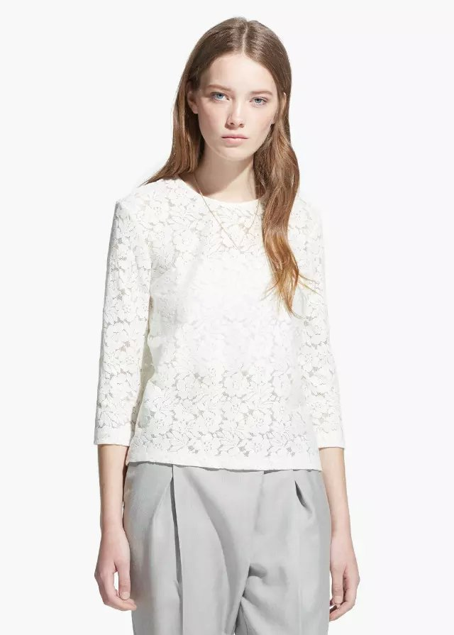 Fashion Women elegant see through floral lace white ...