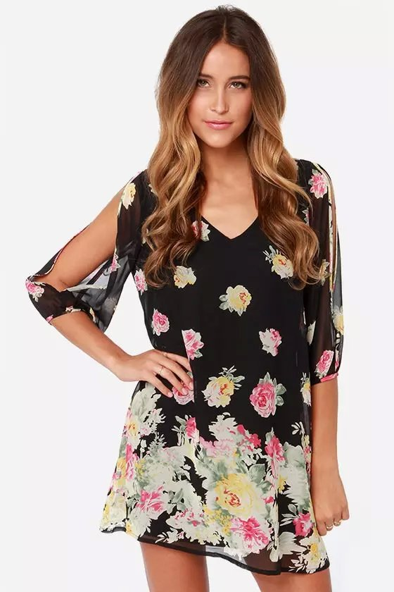 Fashion Women Elegant Sexy floral Beach Dresses sexy ...