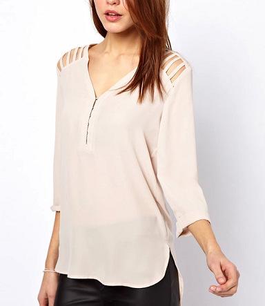 Fashion women elegant sexy shoulder hollow out blouses ...