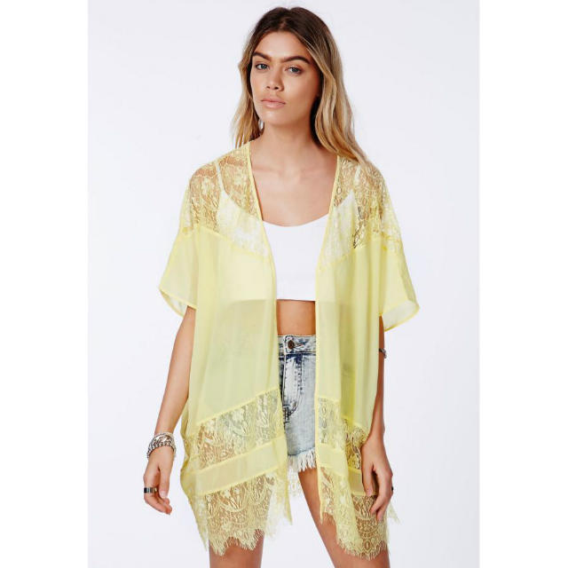 Fashion women elegant sexy yellow lace spliced Kimono ...