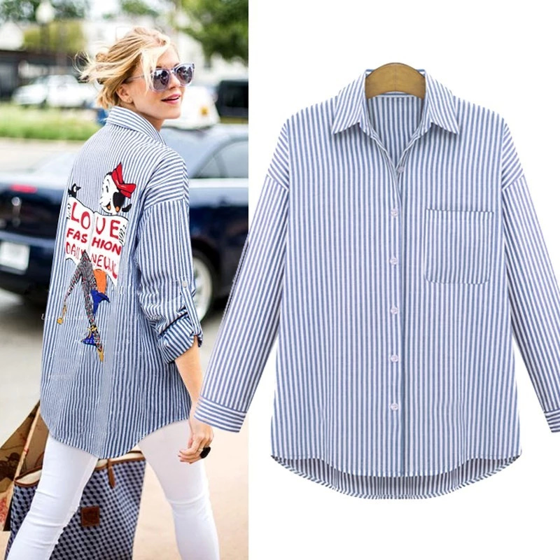 Fashion Women Elegant Stripe Cartoon Print Blouse Long ...