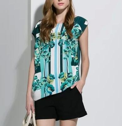 Fashion Women Elegant Stripe Floral print Green Blouse ...