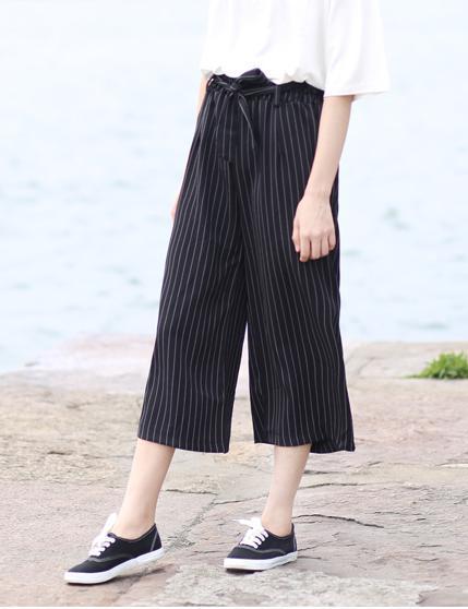 Fashion Women Elegant Striped Wide Leg Cozy Vintage ...