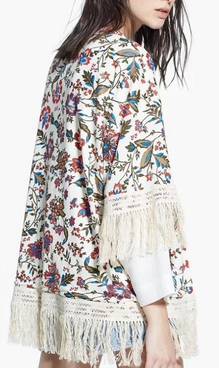 Fashion women elegant stylish floral print tassel Kimono ...