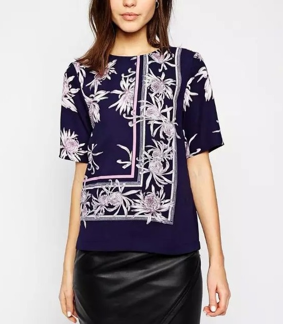 Fashion Women elegant stylish Purple floral print blouses ...