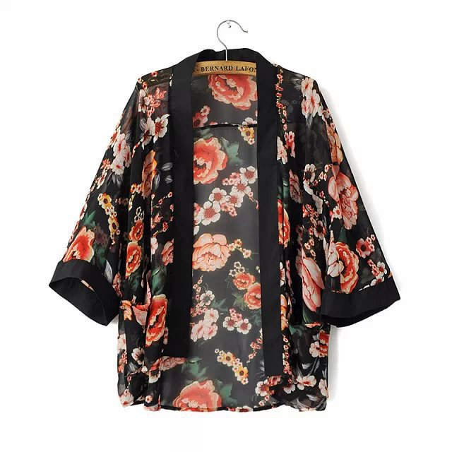 Fashion women elegant stylish rose floral print Kimono ...