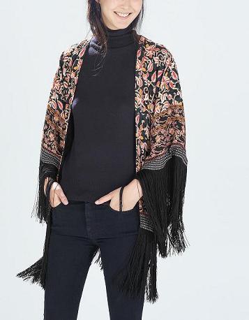 Fashion women elegant stylish totem floral tassel Kimono ...