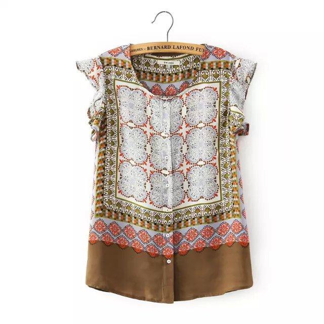 Fashion Women elegant totem Floral print blouses vintage ...