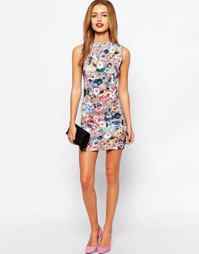 Fashion Women elegant vintage blue floral print mini Elastic sheath dress zipper O Neck sleeveless slim dresses