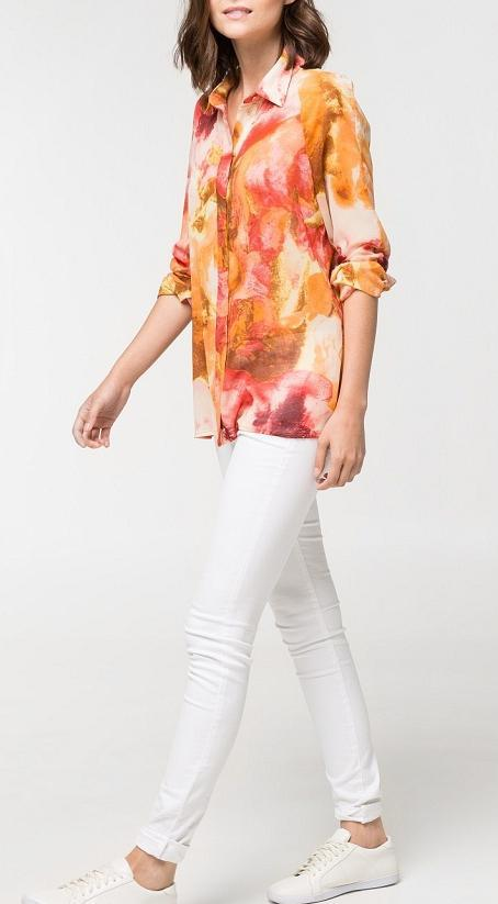 Fashion women elegant vintage colored floral print blouse ...
