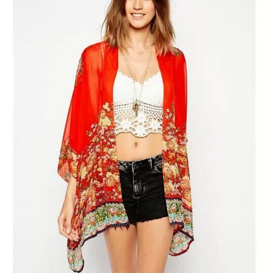 Fashion women elegant vintage floral print red Kimono ...