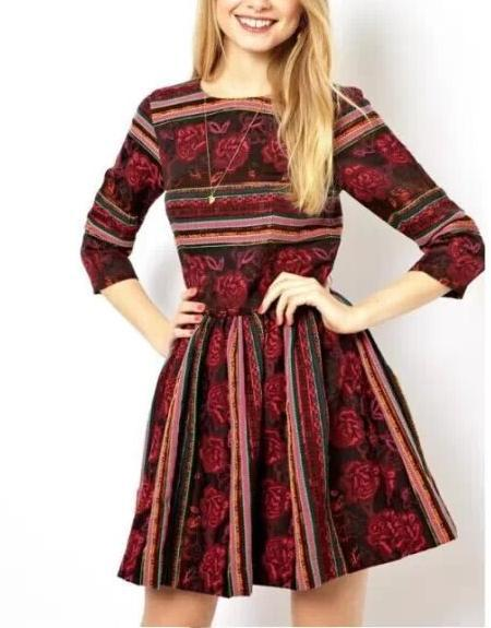 Fashion women Elegant vintage stripe floral print Dress ...