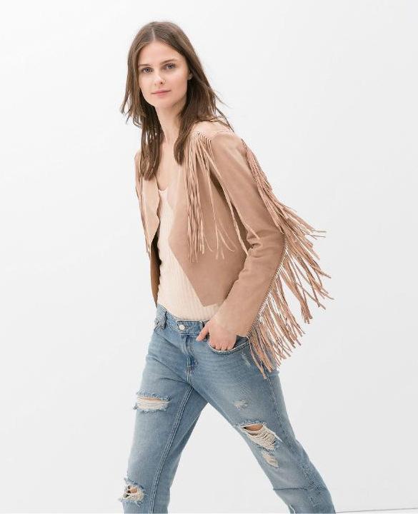 Fashion women Faux Suede Leather Fringe black Jacket ...