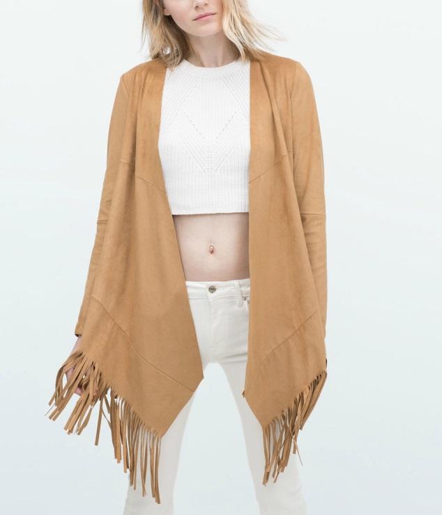 Fashion women Faux Suede Leather Fringe Tassel Jacket ...