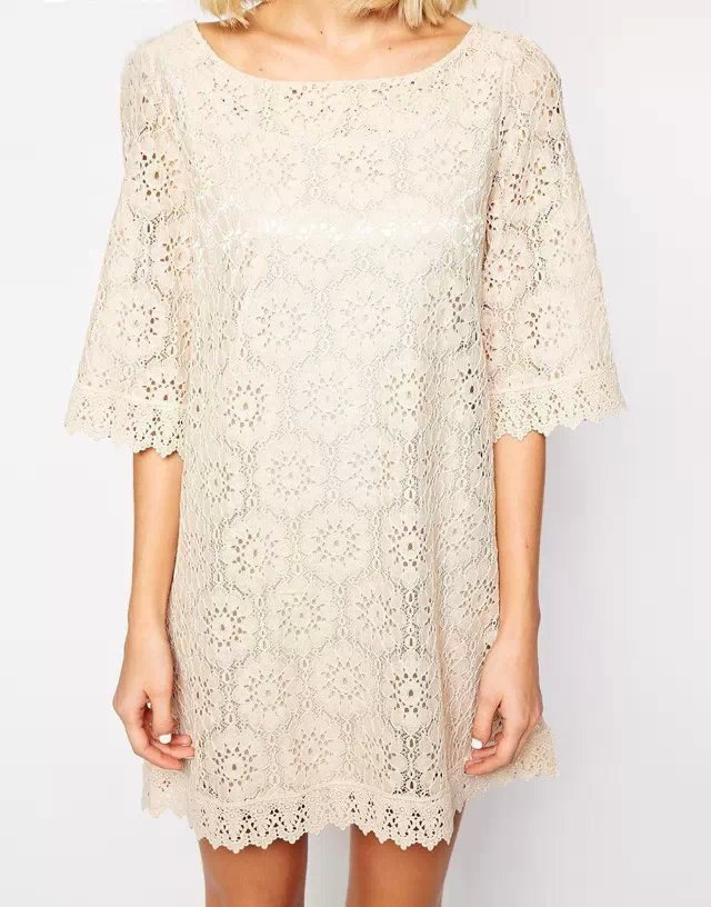 Fashion Women Floral Pattern Lace Dresses Sexy Middle Sleeve O neck casual Slim brand dress