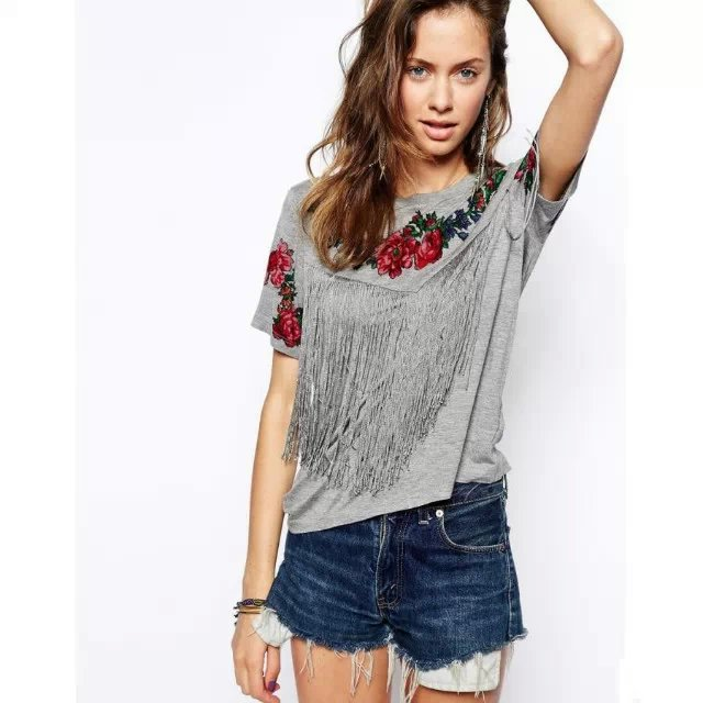 Fashion Women floral print gray tassel T-shirts short ...