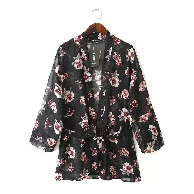 Fashion women floral skin print loose kimono non-button ...