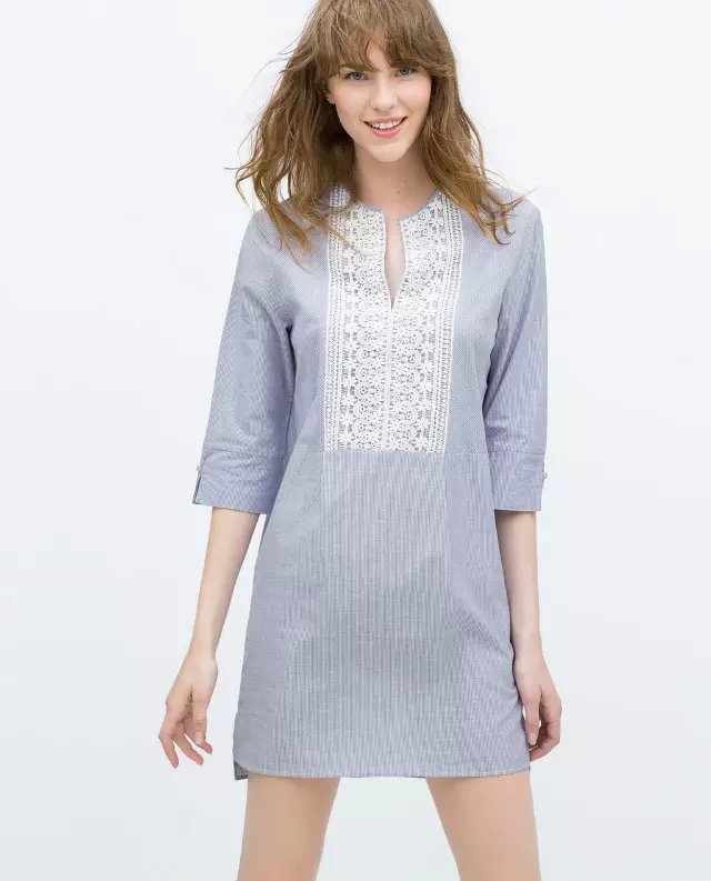 Fashion Women Lace Blue Stripe Cotton Mini Dresses vintage V-neck Half sleeve casual vestidos