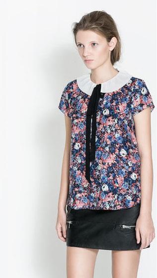 Fashion women Ladies' blue floral print peter pan collar ...