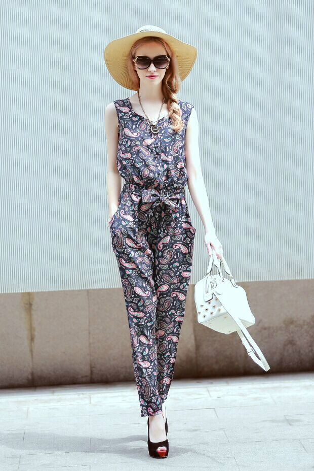 Fashion Women Overalls Paisley Print Casual Lady Long ...