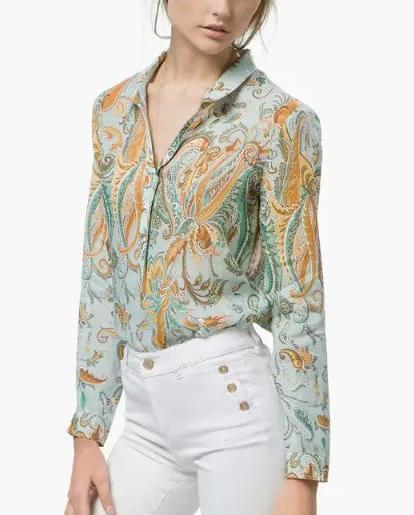 Fashion Women Paisley Print Indian Collar Blouses Long ...