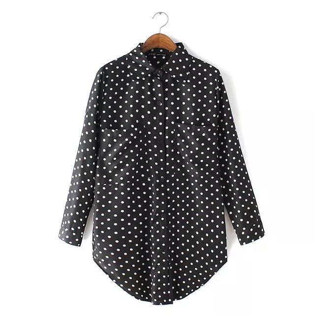 Fashion Women pocket Blouses Turn-down collar Long Sleeve ...