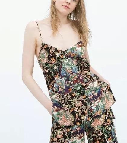 Fashion women Sexy Camis Floral Print shirt Spaghetti ...